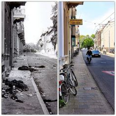 Then and Now: Utrechtesweg street in Arnhem during the failed Allied operation Market Garden.