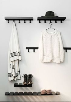 A Fun yet Stylish Solution for Storing and Displaying your Favourite Shoes - Maze Step S Shoe Shelf Design by Gustav Rosén Wall Mounted Shoe Storage, Shoe Storage Design, Wooden Shoe Storage, Shoe Storage Rack, Hallway Storage, Wall Mounted Coat Rack, Coat Hooks, Wall Coat Rack, Rack Shelf