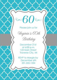 Quatrefoil Adult Birthday Invitation - Printable Moroccan Birthday Party Digital File