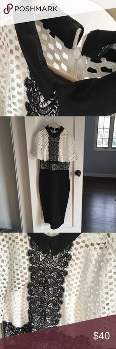 ZARA WOMEN collared black and white dress 🆕 with tags ZARA dress. Never worn. Lace detailing. Collar looks slightly worn.. probably from people trying it on in stores. Price is $60 euros which is around $73 US. This dress is very classy and can be worn to any event! It's the type of dress that you could wear to a wedding or to the office one day and you'll never look over or underdressed because it fits in both categories! I love this dress and wish it fit me! Measurements posted in the…