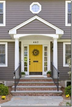 Front Door Paint Colors - Want a quick makeover? Paint your front door a different color. Here a pretty front door color ideas to improve your home's curb appeal and add more style! Grey Exterior, House Paint Exterior, Exterior Paint Colors, Exterior House Colors, Exterior Design, Paint Colours, Grey Siding House, Brick Siding, Exterior Houses