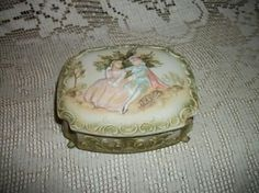 Vintage Porcelain Boxes   vintage trinket box bisque porcelain courting by FabulousFinds1