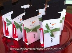 My Stamping Friends: Snowman Candy Holder using Stylin' Snowfolk from Stampin' Up! and my Big Shot My Stamping Friends: Snowman Candy Holder using Stylin' Snowfolk. Christmas Favors, Christmas Paper Crafts, Stampin Up Christmas, Noel Christmas, Christmas Projects, All Things Christmas, Holiday Crafts, Christmas Decorations, Kirklands Christmas