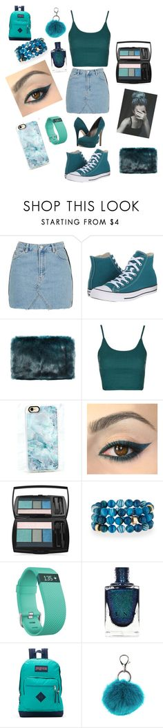 """Feeling teal❤️❤️❤️"" by aadkinsbcvc ❤ liked on Polyvore featuring Topshop, Converse, Ultimate, Casetify, Lancôme, NEST Jewelry, Fitbit, JanSport, Carole and Michael Antonio"