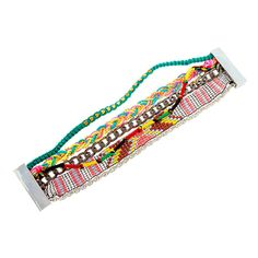 Seed Bead, Chain Link and Braided Cord Multi-Strand Friendship Bracelet