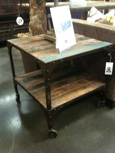 lovely reclaimed wood table on casters