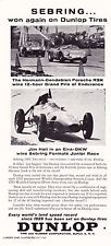 1960 ELVA-DKW @ SEBRING FORMULA JUNIOR RACE - JIM HALL ~ ORIGINAL DUNLOP AD