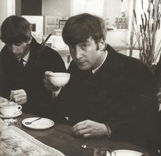 Ringo and John. Famous People Drinking Tea