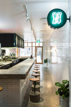 Subway Tiles Style Restaurant Bar Industrial Concrete