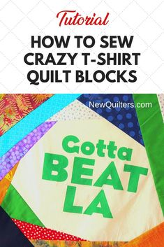 Tired of boring t-shirt quilts? Photo tutorial from NewQuilters.com shows you how to turn tee shirts into dramatic quilt blocks that make fabulous memory quilts and also use up your scraps! #t-shirtquilt #crazyquilt #scrappyquilt #quiltpiecing #tshirtquiltideas Quilting For Beginners, Quilting Tips, Scrappy Quilts, Easy Quilts, Quilt Patterns, Stitch Patterns, Crazy Quilt Blocks, Memory Quilts, Shirt Quilts