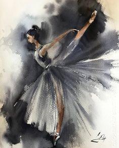 Ballerina Original watercolor painting, grey ballet watercolour art, dance ballet art, painting of ballerina Ballerina Kunst, Ballerina Painting, Ballet Drawings, Dancing Drawings, Art Ballet, Dance Ballet, Wall Art Prints, Fine Art Prints, Grey Wall Art