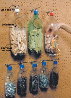 Recycled plastic bottles make for Space-Saving & Cheap Storage organization garage Small Shop Tips: Sawhorse, Space-Saving & Cheap Storage
