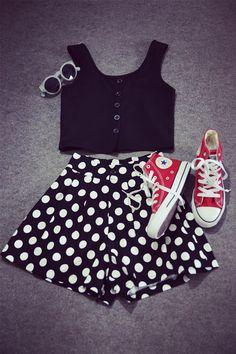 Polka Dots Print Elastic A-line Skirt