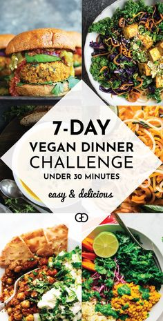 Easy and Delicious Vegan Dinner Plan Love this challenge! 7 easy weeknight vegan dinners in under 30 minutes: easy, healthy, and ready in no time! Here's a week of vegan meals that includes a super useful grocery list. Be healthy, lose weight, and s Easy Vegan Dinner, Vegan Dinner Recipes, Vegan Dinners, Easy Healthy Recipes, Vegetarian Recipes, Easy Meals, Plant Based Dinner Recipes, Vegan Weeknight Meals, Cheap Vegetarian Meals