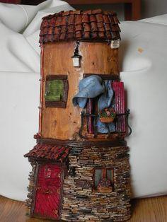 Cloth and Clay: Handmade Decorated Texas. Clay Fairy House, Fairy Garden Houses, Clay Fairies, Ceramic Houses, Fairy Doors, Miniature Fairy Gardens, Magical Creatures, Clay Art, Sculpture Art