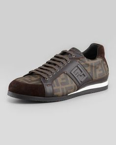 Zucca-Print Low-Top Sneaker, Tobacco by Fendi at Neiman Marcus.