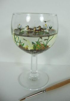 Duck pond in a wine glass - miniatures Diy Resin Crafts, Diy Arts And Crafts, Cute Crafts, Clay Art, Resin Art, Deco Nature, Polymer Clay Miniatures, Miniature Crafts, Diy Décoration