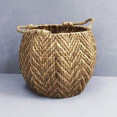 Waterhyacinth Hexagonal Basket with Rope Handles from INARTISAN