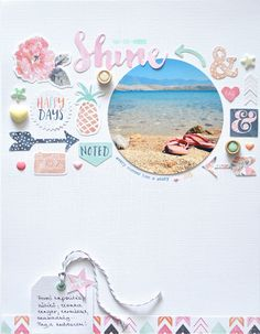8.5 x 11 SCRAPBOOK LAYOUT ~ I love how she has used a circle photo, such a pretty layout.
