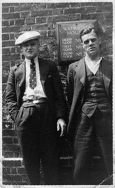 Ike Peterson and Jack Silverside outside Watergate House Deptford, where they lived.