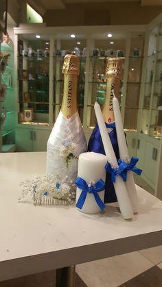 Blue wedding handmade  decor Candles and champagne  Свадебный комплект для синей свадьбы ручной работы