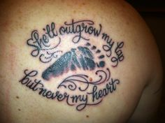 My husband's newest tattoo of our daughters baby foot print.  He got it on his shoulder blade on his back.  Sooo sweet!