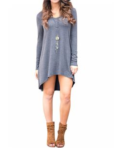 Women Loose Scoop Neck Long Sleeve A-shape Swing High Low Hem Casual Dress Grey S - Yesfashion.com in Free Shipping