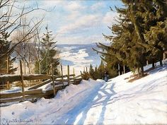 Peder Mørk Mønsted (1859-1941): Woman in winter landscape, Langseth, Lillehammer, 1919