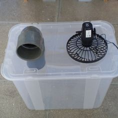 Simple Cheap Air Conditioner-- This would be nice after a hurricane if the fan was battery powered. Neat idea for personal cooling. I'm sure it wouldn't cool an entire room, but a couple of these would be nice to help out since the heat after a hurricane is usually unbearably hot.