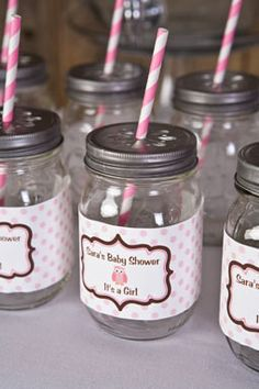 Owl Water Bottle Labels Baby Shower - Pink & Brown