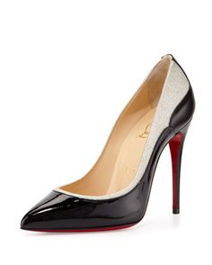 Tucskick GIittered Red Sole Pump, Black/Ivory by Christian Louboutin at Bergdorf Goodman.