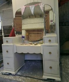 SHABBY CHIC FURNITURE - PAINTED CREAM VINTAGE DRESSING TABLE - ART DECO ERA | eBay