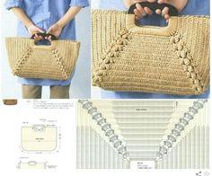 Straw Bag, Crochet Purses, Tote Bags, Knitting And Crocheting Crochet Diy, Crochet Tote, Crochet Socks, Crochet Handbags, Crochet Purses, Love Crochet, Crochet Crafts, Crochet Shell Stitch, Crochet Stitches