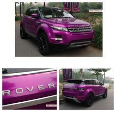 A very flashy Range Rover Evoque, spotted in Beijing China. The Evoque is wrapped in an eye slashing shiny purple wrap, black windows, black roof, black ABC pillars, and black alloys. (Photo Credit: carnewschina.com) #landroverpalmbeach #landrover #rangerover