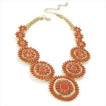 Gold and coral bead necklace.Candy Colour Bib by LoveYourselfLots, £9.98