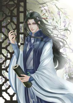 Anime Manga, Anime Guys, Anime Art, Asian Men Long Hair, Chinese Cartoon, L5r, Chinese Man, Fantasy Male, Fairytale Art