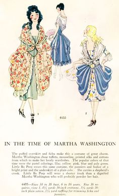 """In the Time of Martha Washington"" masquerade costume pattern, c. 1920's."