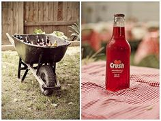 wheelbarrow cooler- done this several times- put salt lightly over ice to keep it longer!
