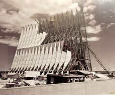 Construction on the U.S. Air Force Academy's iconic Cadet Chapel, designed by renowned architect Walter Netsch of Skidmore, Owings and Merrill (SOM), began on Aug. 28, 1959. Construction was completed in 1963. Unknown photographer.