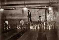 "April 1910. ""1 a.m. Pin boys working in Subway Bowling Alleys, 65 South Street, Brooklyn, N.Y., every night. Three smaller boys were kept ou..."