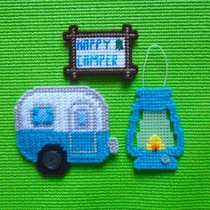 """Plastic Canvas: Happy Camper Set, """"Parakeet"""" (set of 3 -- camper magnet, """"Happy Camper"""" magnet and lantern ornament) by ReadySetSewbyEvie on Etsy Plastic Canvas Ornaments, Plastic Canvas Crafts, Free Plastic Canvas Patterns, Tissue Box Covers, Tissue Boxes, Yarn Crafts, Sewing Crafts, Plastic Mesh, Happy Campers"""