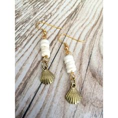 Sea Shell Earrings  White and Gold Shell Charm White by LoveMyssa