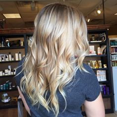 Honey blonde with touches of platinum blonde balayage