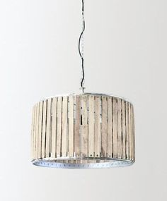 Olsson & Jensen in Sweden - light made with reclaimed wood slats Reclaimed Wood Projects, Recycled Wood, Repurposed, Drum Chandelier, Chandeliers, Wooden Slats, Light Shades, Lamp Shades, Home Lighting