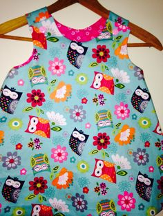 Adorable owl print A-line dress ages 6 months-6 years. Can be custom made. Any color combination. Each dress is $30.00 and I accept paypal. Contact me if interested.