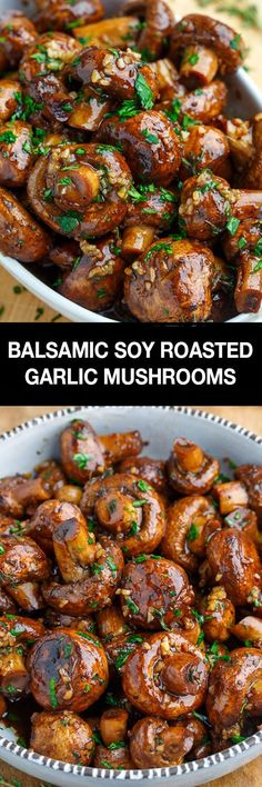 Soy Roasted Garlic Mushrooms Simple and tasty mushrooms roasted in a balsamic-soy and garlic sauce!Simple and tasty mushrooms roasted in a balsamic-soy and garlic sauce! Side Dish Recipes, Vegetable Recipes, Vegetarian Recipes, Cooking Recipes, Healthy Recipes, Cooking Tips, Chicken Recipes, Weeknight Recipes, Garlic Recipes