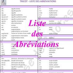 Abréviations Tricot