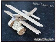Bi Plane with cork wheels and lolly/ craft sticks. Kids will love to make these!