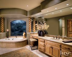 #Wood Accents Complete this #Luxe #Arizona #Bathroom