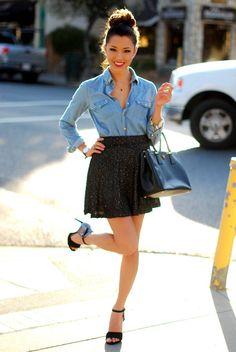 Black skirt + chambray + black heels